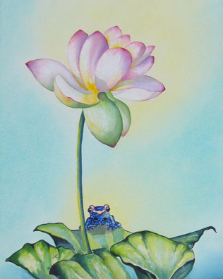 Print- Frog- Jewel in the Lotus