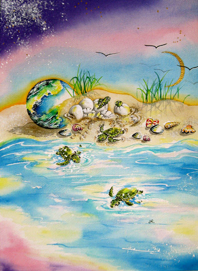 Print - baby Turtles -Leaving the Nest